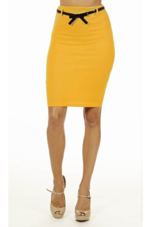 Mustard High Pencil Skirt