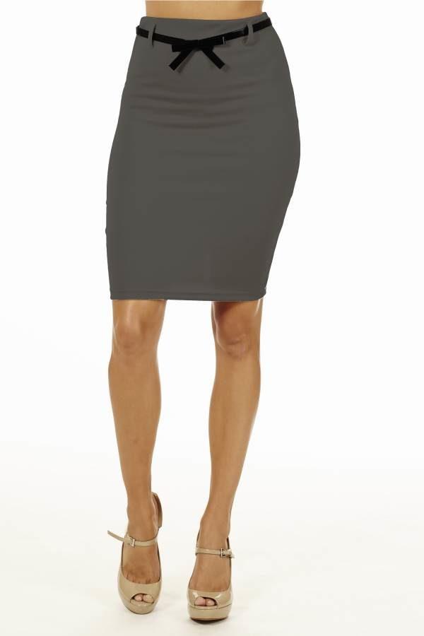 Dark Grey High Pencil Skirt