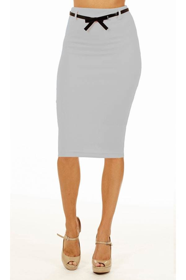 Light Grey Below Knee Pencil Skirt