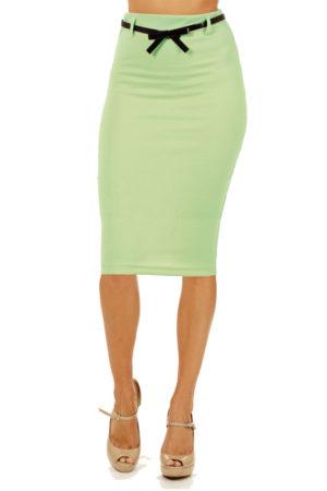 Mint Below Knee Pencil Skirt