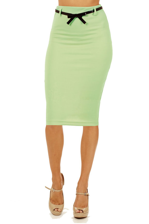Mint Below Knee Pencil Skirt