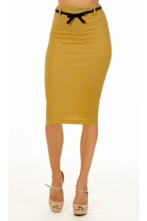 Mustard Below Knee Pencil Skirt