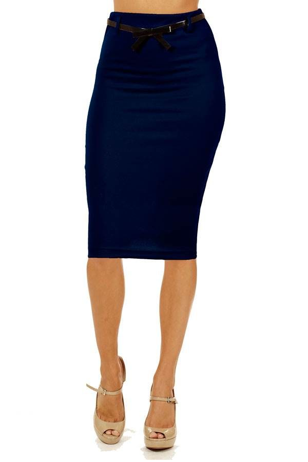 Navy Below Knee Pencil Skirt