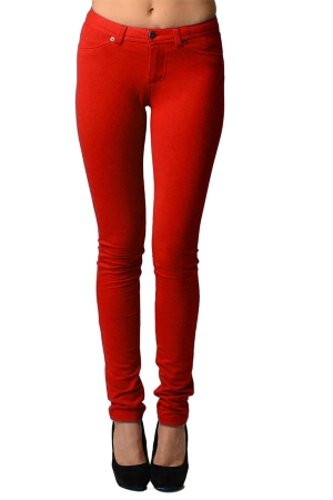Red Moleton Stretchy Jeggings with Pockets
