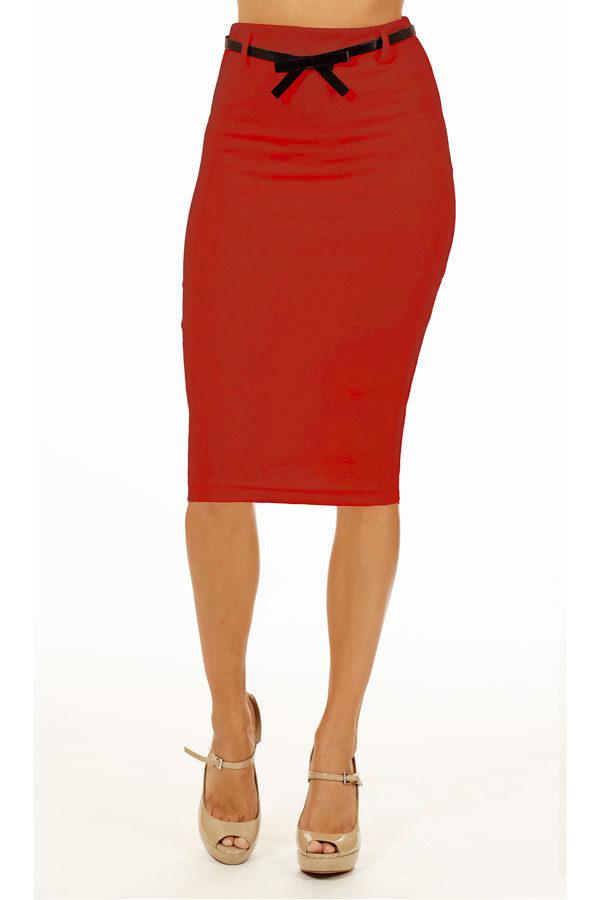 Red Below Knee Pencil Skirt