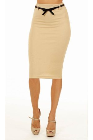 Sand Below Knee Pencil Skirt