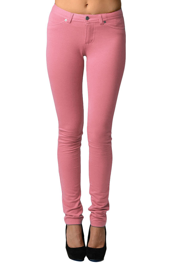 Old Pink Moleton Stretchy Jeggings with Pockets