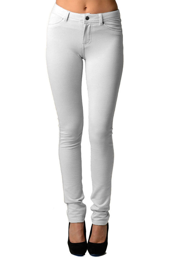 White Moleton Stretchy Jeggings with Pockets