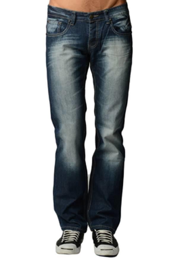 premium navy denim boot cut jeans