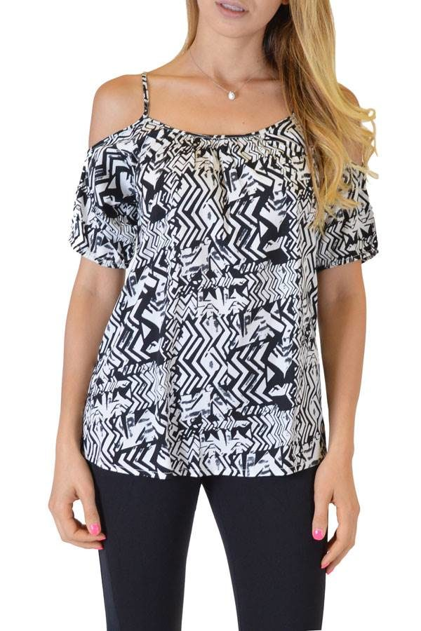 Black Spaghetti Blouse With Sleeves