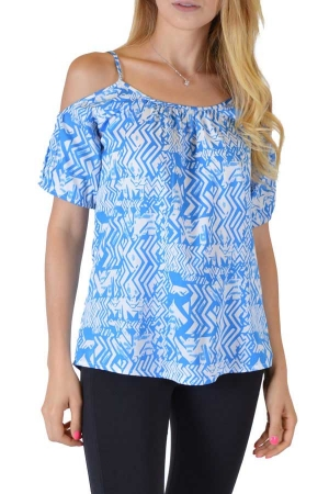 Blue Spaghetti Blouse With Sleeves