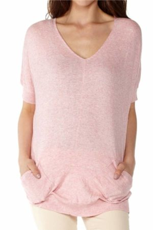 women's Pink V-Neck Sweater