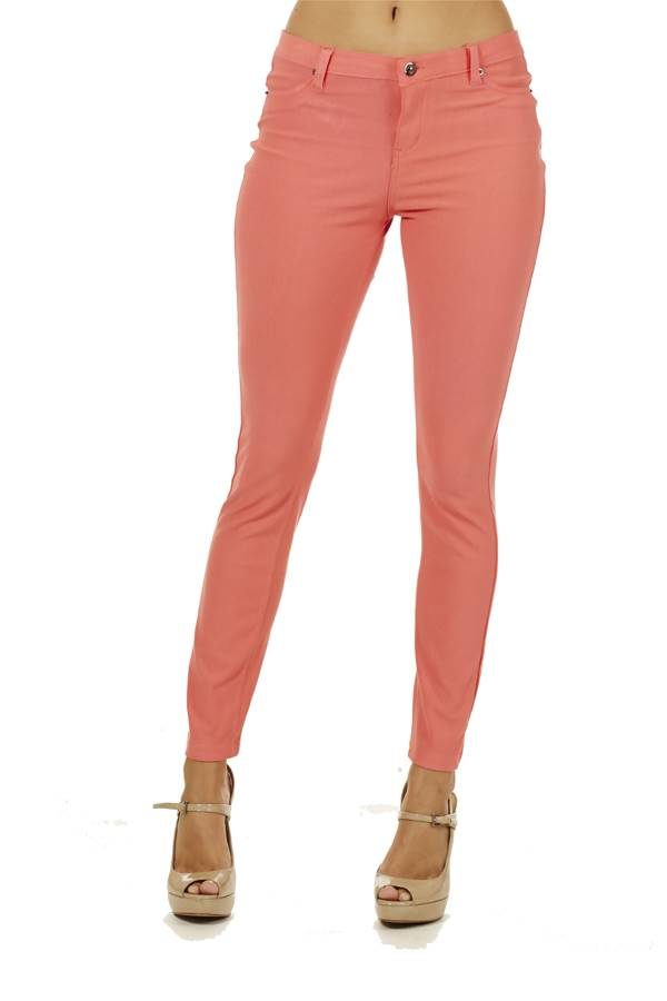 Peach 5 pocket skinny pants