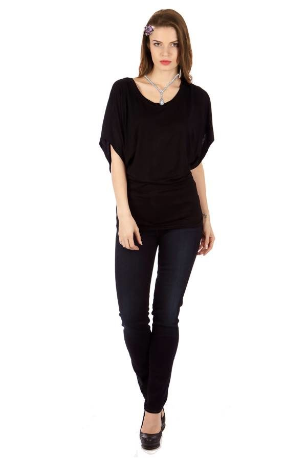 Black Flowing Angel Tunic Blouse