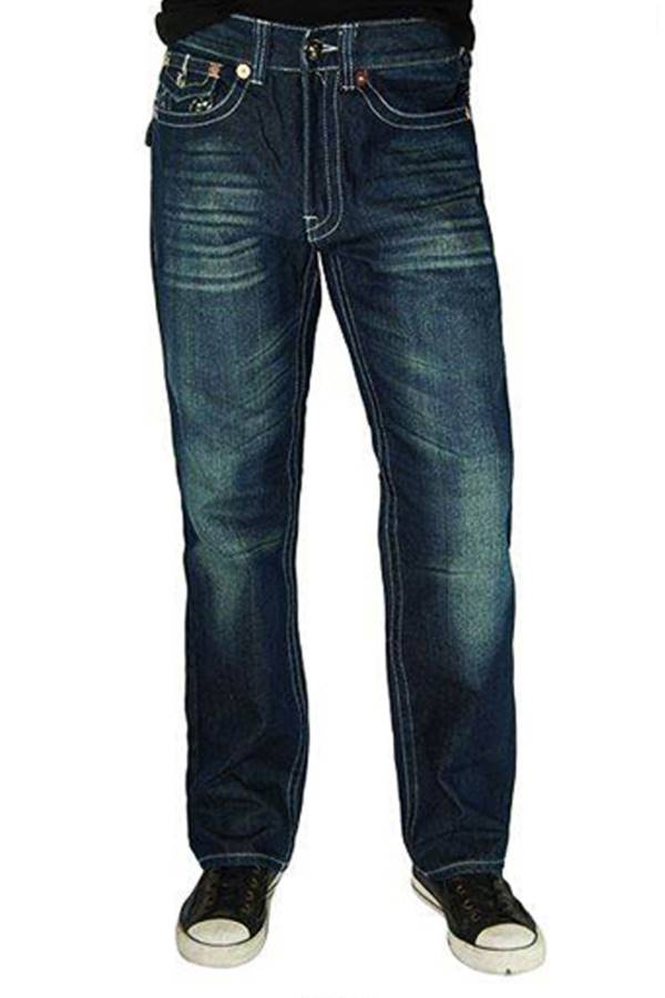 Blue White Denim Boot Cut Jeans