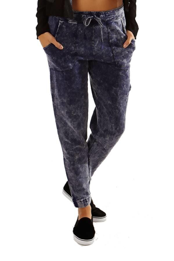 Blue Wash Simple Slim Pants