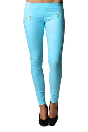 Blue Slim Fit Cross Zipper Jeggings