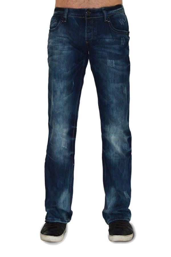 Navy Wash Scratch Jeans
