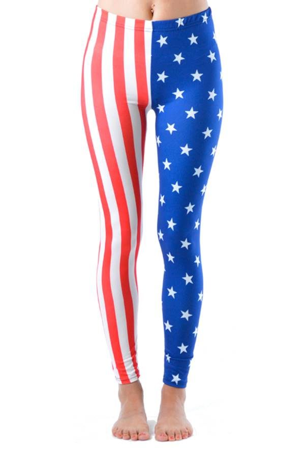 USA Olympic Style Diagonal Flag Ankle Length Leggings