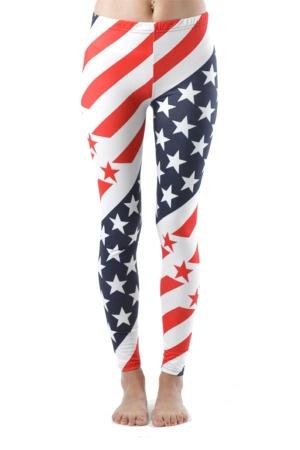 USA Olympic Style Stripe Flag Ankle Length Leggings