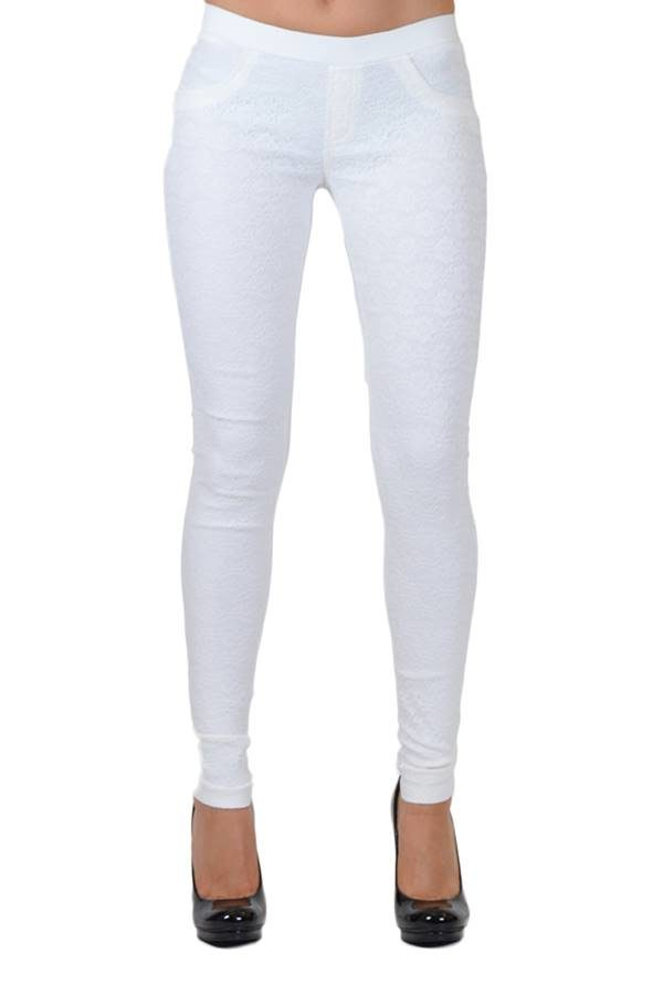 White All-Over Lace Pants