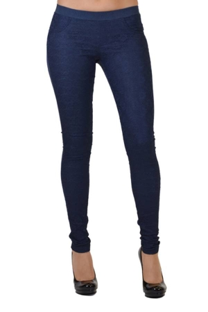 Jean color all-over lace pants