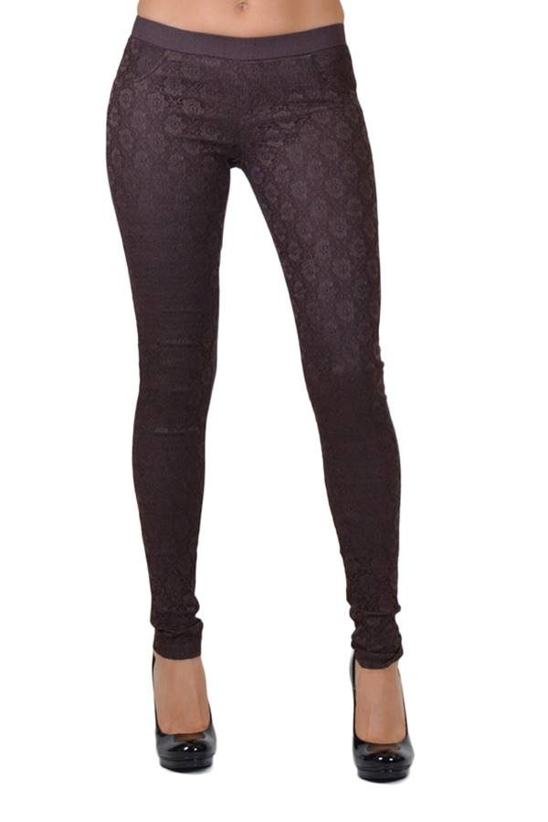brown all-over lace pants