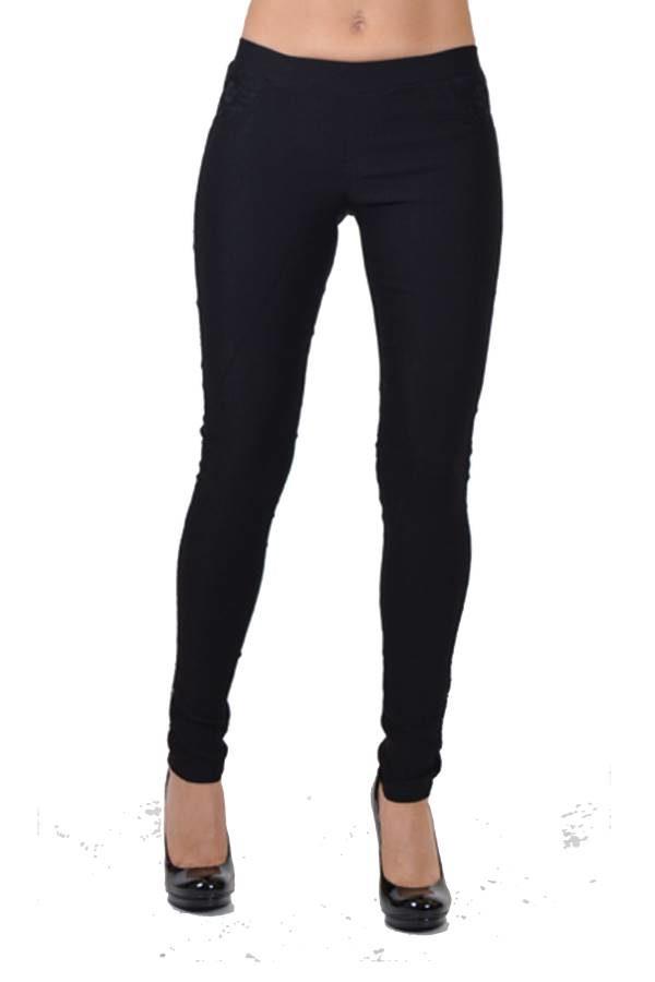 black pocket lace line pants