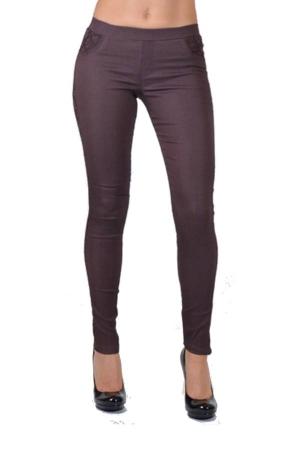 brown pocket line lace pants