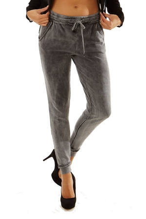Dark Grey Wash Simple Slim Pants