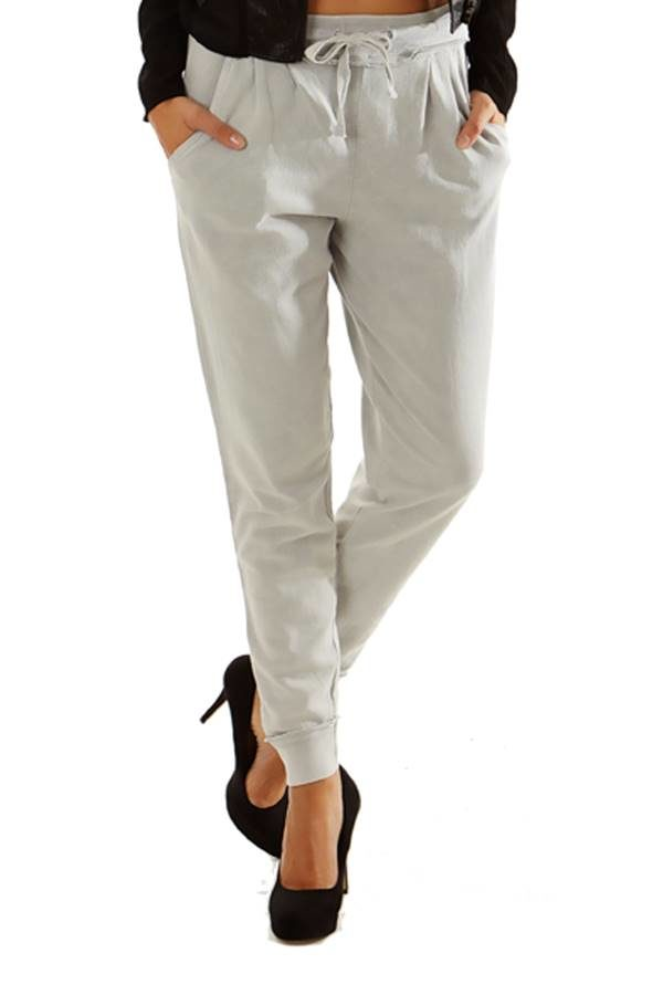 Light Grey Simple Slim Pants