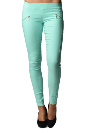 Green Slim Fit Cross Zipper Jeggings