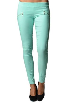 Green Slim Fit Cross Zipper Jeggings