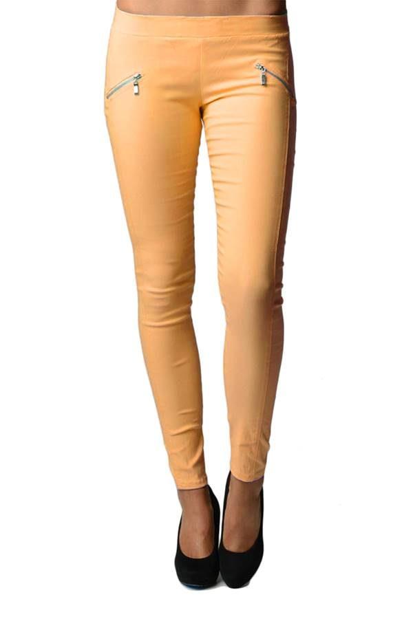 Orange Slim Fit Cross Zipper Jeggings