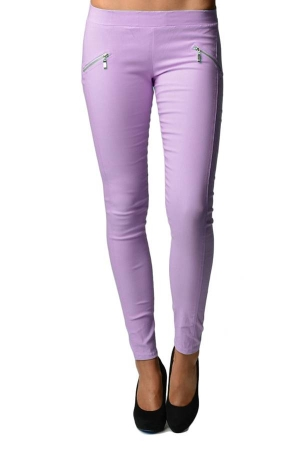 Purple Slim Fit Cross Zipper Jeggings