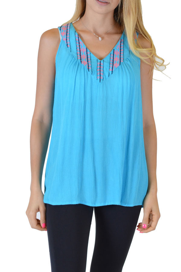 Turquoise Printed Anil Top