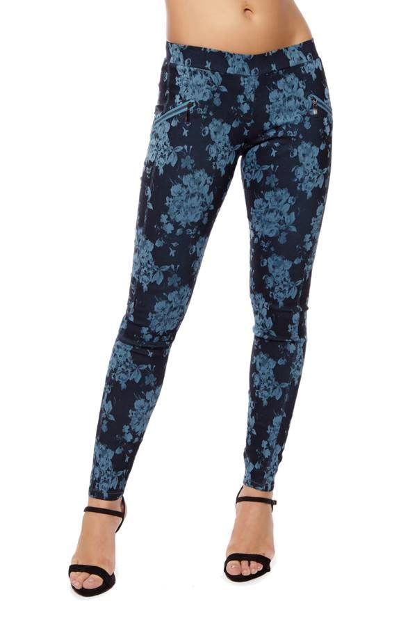 Printed Dark Blue Slim Fit Cross Zipper Jeggings