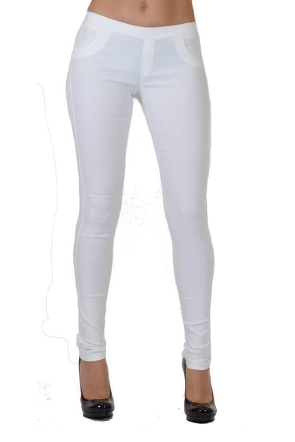white pocket line lace pants