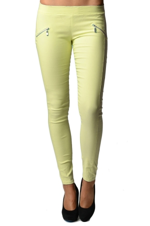 Yellow Slim Fit Cross Zipper Jeggings