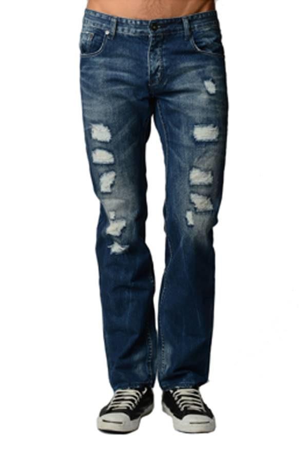Blue Distressed Acid Wash Jeans