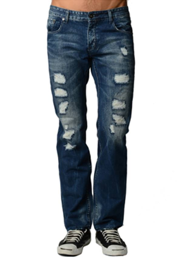 Blue Distressed Acid Wash Jeans