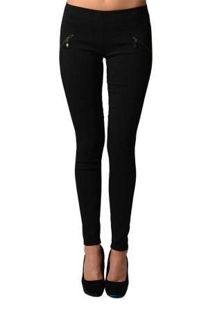 Black Slim Fit Cross Zipper Jeggings