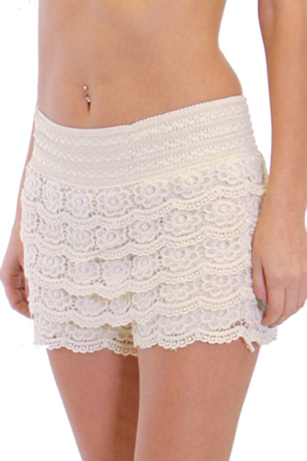 cream crochet shorts