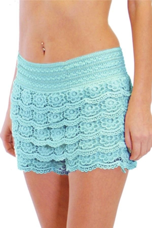 Mint Crochet Shorts