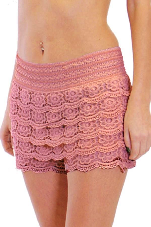 Peach Crochet shorts