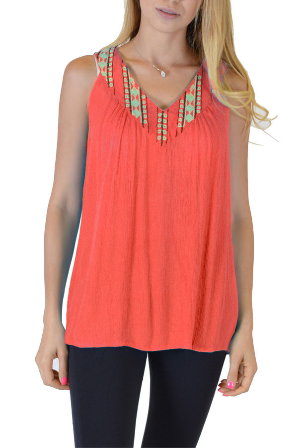 Coral Printed Anil Top