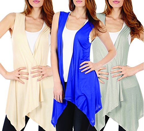 3-Pack Sleeveless Light Weight Flyaway Cardigan Vest with Elastic Detail at Back
