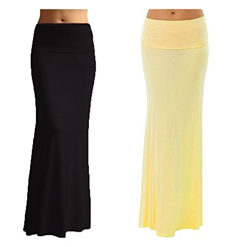 2 Pack Women's Rayon Spandex Maxi Skirt