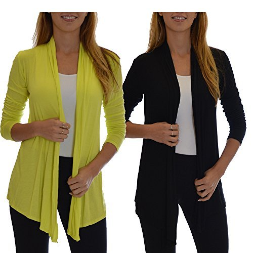 2 Pack Golden Black Fashion Women's Fly Away Open Front Basic Cardigan