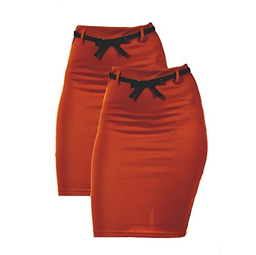 2 Pack Women's High Waist Pencil Skirt